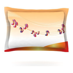 """Kess InHouse - Fotios Pavlopoulos """"Nature Music"""" Orange White Pillow Sham (Cotton, 30"""" x 20"""") - Pairing your already chic duvet cover with playful pillow shams is the perfect way to tie your bedroom together. There are endless possibilities to feed your artistic palette with these imaginative pillow shams. It will looks so elegant you won't want ruin the masterpiece you have created when you go to bed. Not only are these pillow shams nice to look at they are also made from a high quality cotton blend. They are so soft that they will elevate your sleep up to level that is beyond Cloud 9. We always print our goods with the highest quality printing process in order to maintain the integrity of the art that you are adeptly displaying. This means that you won't have to worry about your art fading or your sham loosing it's freshness."""