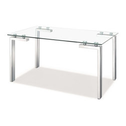 Zuo Modern - Roca Dining Table Stainless Steel - This Roca Dining Table fits well in all modern dining rooms or any office space. Our table is made with a clear tempered glass top and stainless steel tube legs. It's the perfect dining table to compliment any dining room.