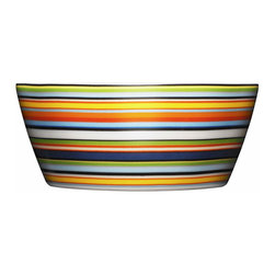 Iittala - Origo Dessert Bowl Orange - Vibrant stripes of color make these ceramic bowls perfect for your favorite sweet treat. Just imagine scoops of ice cream with rainbow sprinkles piled high and just waiting for a spoon. The best part might just be cleanup, since you can simply place these in the dishwasher!