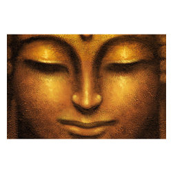 Siddhartha Wall Mural - A smiling Buddha face is the single element of this rich gold toned single panel wall mural.