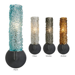 LBL Lighting - Mini-Isis Cylinder - Wall Sconce | LBL - LBL Lighting Mini-Isis Cylinder Wall Sconce features�_streams of thick glass piping formed into a glass cylinder. May be mounted up or down. �_ Manufacturer:�_LBL LightingSize:�_4.8 in. length x 14.5 in. height x 3.9 in. wall projection Light Source:�_1 x 60 watt 120V G9 base halogen lamp - included Certifications: ETL Location:�_Dry ADA�_Compliant