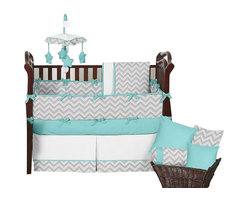 Sweet Jojo Designs - Zig Zag Turquoise and Gray 9-Piece Baby Crib Bedding Set by Sweet Jojo Designs - The  baby bedding by Sweet Jojo Designs includes: comforter, bumper, dust ruffle, fitted sheet, toy bag, pillow, diaper stacker and 2 window valances.