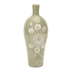 iMax - Kayla Small Pattern Vase - Elegant and painstakingly crafted, this small ceramic vase is the perfect mix of attention to detail and modern design. With a medallion centered design and soft shade of green, this vase is a beautiful hand crafted addition to any home.