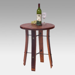 2 Day Designs - 2 Day Designs Reclaimed Wine2Night Round Stave End Table Multicolor - 4064 - Shop for Tables from Hayneedle.com! Here's an end table fit for a wine fan. The Wine2Night Round Stave End Table features a rough-sawn pine top - perfect for holding glasses books and decorative items. The legs are made of recycled oak wine barrel staves. Wrought-iron cross bars provide sturdy reinforcement. With its round tabletop solid craftsmanship and rustic charm this end table makes an excellent addition in any home.About 2-Day Designs Inc.2-Day Designs Inc. is a proud manufacturer of unique home furnishings. For those looking for a little something different browse the company's collections and you will certainly find it with designs that will make a statement in any room of your home. From dining tables and chairs to occasional tables and from hutches and cupboards to keepsake boxes and trunks you are sure to fall in love with something from the 2-Day Designs collections. Environmentally conscious 2-Day Designs uses recycled antique lumber whenever possible. All 2-Day Designs pieces are crafted with the highest quality standards from start to finish.