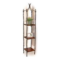 """Mathews & Company - Large South Fork Single Etagere - Prominently display your favorite vases, frames, plants or knick-knacks on this handsome etagere; but be careful, it just might draw all the attention to itself! Four tall and sturdy """"branches"""" joined at the top by a mini canopy of vines create the framework for three beautiful shelves. Each copper shelf bears it's own unique colors and patterns created in our hand-firing process, which perfectly complement the rustic elegance of the highly textured hand-crafted wrought iron. The sleek and simple design makes it a perfect fit almost anywhere in your home."""