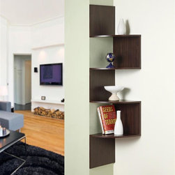 4D Concepts - Modern Staggering Corner Bookshelf in Espress - Turn your corner space into a display standout - your personal showcase! This modern looking arrangement includes 4 different shelves with a staggered, offset design. Finished in rich espresso, it's the perfect place for your photos and other collectibles. Modern staggering step design. Fits perfectly in the corner of a roomSome assembly required11 7/8 in. D x 11 7/8 in. W x 53 1/8 in. H
