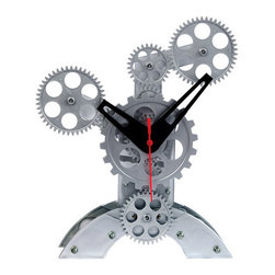 Maple's Clock - Silver Moving Gear Table Clock - - Moving gears  - Conspicuous bold hands  - Abstract design  - Stable and firm base  - Battery - 2C and 1AA (Not Included) Maple's Clock - TCL11-238