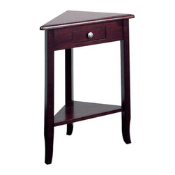 """Office Star - Wood Corner Table - Merlin - The 28�_"""" tall Merlin Telephone Table features an unusual triangular design that makes it the perfect choice for that hard-to-fill corner!  This solid wood table displays clean Shaker styling and provides a convenient storage drawer with a round metal knob.  Specifically designed to make that dark corner shine with beauty, this exquisite shaker-style solid wood corner table is just what you were looking for.  Solidly constructed out of only the highest-quality wood and designed for ultimate style and durability, this beautiful corner table is the ultimate in style and convenience! * Solid wood construction . Distressed Merlot finish . Clean shaker styling . Easy to assemble. 23 x 12.5 x 28.75"""