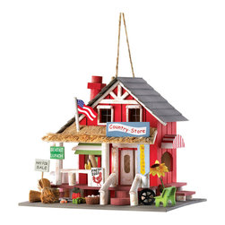KOOLEKOO - Country Store Birdhouse - Tired travelers will find welcome shelter at this quaint resting spot! Cleverly detailed right down to the hay bales, this realistic miniature pays tribute to the rustic charm of the old-time country store.