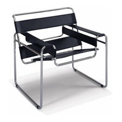 Fine Mod Imports - Upholstered Strap Chair (White) - Color: WhiteSoft thick cowhide leather upholstery available in black or white. Seamless tubular steel. Polished chrome finish. 31.10 in. W x 28.3 in. D x 29.9 in. H