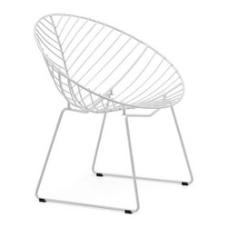 Great Contemporary Outdoor Furniture - The Whitworth dining chair forms a nice, strong shape with its neat and chic lines. The cup-shaped chair has a solid structure made of chromed steel and is finished with a white epoxy, making it perfect for use outside.