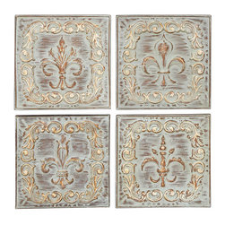 Benzara - Metal Wall Decor 4 Assorted 16in.H, 16in.W Wall Decor - Size: 16 Wide x 1 Depth x 16 High (Inches) each