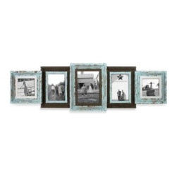 Mcs Industries, Inc. - Five-Piece Distressed Collage Wall Frame - Make a sentimental statement with this weathered brown and robin's egg blue collage frame. The segments increase in size from the ends to the special photo in the middle.