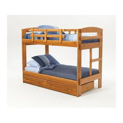 """Sunset Trading - Arched Twin Over Twin Bunk Bed - NOTE: ivgStores DOES NOT offer assembly on loft beds or bunk beds.. Storage drawers not included. Warranty: One year. Made from solid southern yellow pine. Honey pine finish. Made in USA. Assembly required. 96.75 in. L x 42.25 in. W x 61.5 in. H (169.27 lbs.). Bunk Bed Warning. Please read before purchase.This beautifully designed furniture supplied by Sunset Trading will assure you many years of use and enjoyment. All bunk beds have been tested by an independent laboratory to make sure that beds conform to federal safety standards. All certificates of compliance are currently on file at our manufactures corporate offices. ASTM F-1427-96 """"Standard Consumer Safety Specifications for Bunk Beds"""". Perfectly suited for your son or daughters bedroom the Rustic Collection from Sunset Trading provides space-saving comfort and convenient storage for any childs room. Kids will love its fun and inviting appearance. Parents will love it for its timeless appeal, space-saving convenience, durability and abundant storage. Its natural rustic look will grow with your child for years to come."""