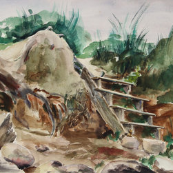 Eve Nethercott, Stairway to the Sea (85), Watercolor - Artist:  Eve Nethercott, American (1925 - )