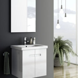 ACF - 24 Inch Bathroom Vanity Set - Set Includes:. Vanity Cabinet (2 Doors). High-end fitted ceramic sink. Wall mounted vanity mirror. Vanity Set Features . Vanity cabinet made of engineered wood. Cabinet features waterproof panels. Vanity cabinet in PVC glossy white, PVC matt canapa finishes. Vanity cabinet features two easy-to-open doors. Chrome door handles elegantly completes vanity surface. Faucet not included. Perfect for modern bathrooms. Made and designed in Italy. Includes manufacturer 5 year warranty.