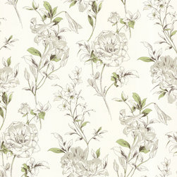 Beacon House - Jolie Green Floral Toss Wallpaper - Think floral for your favorite traditional setting. A flourish of flowers and green foliage makes this washable wallpaper the ideal backdrop for a guest room or cozy kitchen nook. The light colors are a warm touch, making smaller spaces look larger.