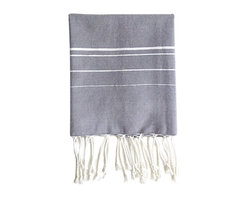 """Abanja - Bakkali Stripe Hand Gray & White Towel - The Bakkali hand towel's traditional Moroccan design entices in a modern interior. Sophisticated white stripes accent this gray accessory's fringed cotton design for classic appeal. 32""""W x 54""""H; 90% cotton/10% acrylic"""