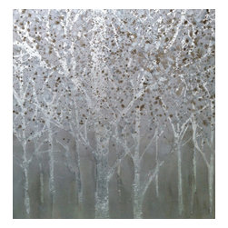 Bryan Boomershine Art - Abstract Tree Landscape Painting - Title: Silver Forest