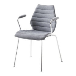 Kartell - Maui Soft Armchair (Set of 2) by Kartell - So soft and stylish, you'd never guess that the Maui Soft Armchair (Set of 2) is the result of extensive design research. The fabric-covered nylon shell is an example of monocoque construction, in which the external covering is the main structural support, without any internal framing. Here, the strong, comfy seat is complemented by padded armrests. Founded in 1949 by Giulio and Anna Castelli, Kartell has become the world leader—and innovator—in the realm of molded plastic furniture. Headquartered in Italy, Kartell works with designers worldwide to create their distinctive line of modern furniture, lighting and accessories. Dedication to discovering and employing new technologies and manufacturing methods results in a growing line of durable, stylish and cutting edge products.