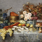 A Bountiful Table 10.48 x 16 Art Print On Canvas - A Bountiful Table by Modeste Carlier Size: 10.48 x 16 Art Print Poster. Canvas Transfer stretched and canvas museum wrap. Comes ready to hang. Canvas board is an off white color.