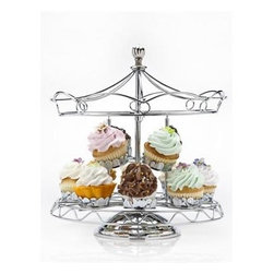 Godinger Silver - Carousel Cupcake Holder - True carnival style, this carousel cupcake holder will have your delectables going round and round at the next party, birthday celebration, baby shower or even wedding occasion. Cutesy and Whimsical, the silver-plated cupcake stand can hold up to 12 of  your creatively decorated miniature dessert cupcakes.
