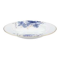 Lenox - Lenox Garden Grove Pasta/Rim Soup Bowl - Just as a great soup is filled with delicious ingredients,this Garden Grove pasta/rim soup bowl is filled with intricate details. A toile-inspired floral motif graces the bowl's wide rim,trailing into the bowl itself.