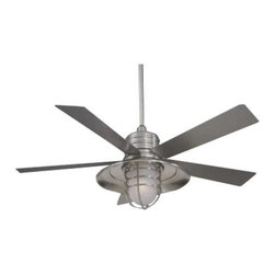 """Minka Aire Fans - 54"""" Ceiling Fan With 5 Blades and Light Kit - Perfect for outdoor and indoor locations, this ceiling fan captures the blending of industrial and craftsman style. The included wall control regulates speed and light level. An integrated light kit with acid etched glass provides ambient light and is protected with a steel cage. Includes 3-1/2-inch and 6-inch downrods with an integrated sloped ceiling adapter. Takes (1) 100-watt halogen T4 bulb(s). Bulb(s) sold separately. Dry location rated."""