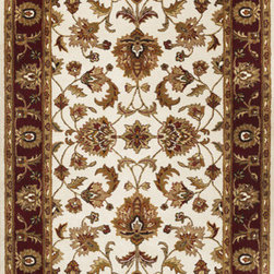 "KAS - KAS Sonal 3813 Mahal (Ivory, Red) 5' x 7'6"" Rug - This Hand Tufted rug would make a great addition to any room in the house. The plush feel and durability of this rug will make it a must for your home. Free Shipping - Quick Delivery - Satisfaction Guaranteed"