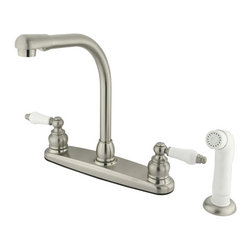 "Kingston Brass - High Arch Kitchen Faucet With Non-Metallic Sprayer - For those who appreciate the antique look, the Victorian collection combines sophistication with old-style beauty. This kitchen faucet features an 8"" centerset platform with a high arch spout that rotates 360 degrees for accessibility and convenience. The body of the faucet is constructed in solid brass for durability and long-lasting usage. With a variety of finishes that are provided, the faucet will be resistant from tarnishes or scratches. The handle levers feature a 1/4-turn on/off mechanism for controlling water volume and temperature. The faucet operates with a washerless cartridge for drip-free functionality and has a 2.2 GPM (8.3 LPM) 60 PSI maximum rate. An integrated removable aerator is fitted beneath the spout's head piece for conserving water flow. A 10-year limited warranty is provided to the original customer. White sprayer included.; High Arch Swivel spout; 1/4 Turn Washerless Cartridge; 4 Hole Installation; Premier Finish; 7"" Spout Reach with 9-1/2"" spout clearance; Material: Brass; Finish: Satin Nickel Finish; Collection: Victorian"