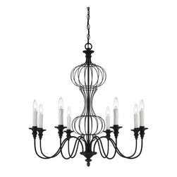 Savoy House - Abagail 8 Light Chandelier - Abagail is a Pierce Paxton design with graceful curves and charming simplicity. The Forged Black finish and soft beeswax candles have a vintage feel that adds warmth and beauty to today's homes.