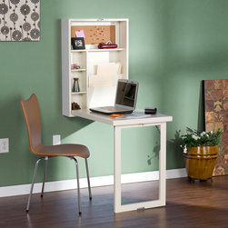 Upton Home - Upton Home Murphy Winter White Fold-out Convertible Desk - A winter white finish and fold away,space saving storage highlight this desk. The desk also features adjustable shelves and corkboard organizer.