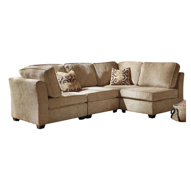 Homelegance - Homelegance Burke Modular Sectional Sofa with 2 Chairs - The clean design of the Burke Modular collection allows for placement in number of living room designs. The decidedly elegant, yet, understated collection is offered in brown beige chenille and features a coordinating ottoman and toss pillows. Also available in dark brown 100% polyester.
