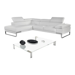 Nicoletti - Nicoletti Italian Leather Domus Sectional Sofa with Left Facing Chaise, Grey - This premium leather sectional is an architecture of class and modernity. What makes this sectional exquisite is not a singular element, but a culmination of design, comfort, simplicity, and elegance. The Domus modern sectional features 3 seperate ratchet headrests, elegant chrome legs, and crafted from thick premium grade italian leather.