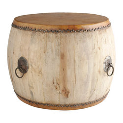 Drumming Up Side Table - I first noticed designer Rebekah Zaveloff using drums as coffee tables in an image on Houzz and I've been looking for some ever since. It was worth the wait! This one is modeled after Asian drums made from hollowed-out trees that they used to use for communicating.