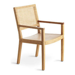 MODERN WOVEN ARMCHAIR - This isn't your grandmother's armchair (which, as you may recall, was probably outdated and not quite functional). Our modern version is oh-so-comfortable, with a open-weave rattan seat and back, and a smooth rubber wood frame. Up close, you'll notice so many handcrafted details that make this piece so special. It's great for casual dining or as an occasional chair.