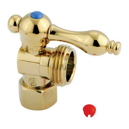 """Kingston Brass - Angle Stop with 1/2"""" IPS x 3/4"""" Hose Thread - The 1/4-turn angle stop valve features a stylish vintage lever which controls the movement of water through and from plumbing fixtures. The valve is made of solid brass built for durability and dependability and also comes in a variety of finishes to better coordinate your kitchen/bathroom.; 1/4-Turn Angle Stop; 1/2"""" IPS x 3/4"""" Hose Thread; English Vintage design; High Quality Brass Construction; Premier Finish Lever Handle; Material: Brass; Finish: Polished Brass Finish; Collection: Vintage"""