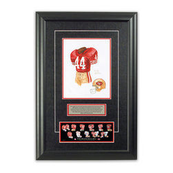 """Heritage Sports Art - Original art of the NFL 1984 San Francisco 49ers uniform - This beautifully framed piece features an original piece of watercolor artwork glass-framed in an attractive two inch wide black resin frame with a double mat. The outer dimensions of the framed piece are approximately 17"""" wide x 24.5"""" high, although the exact size will vary according to the size of the original piece of art. At the core of the framed piece is the actual piece of original artwork as painted by the artist on textured 100% rag, water-marked watercolor paper. In many cases the original artwork has handwritten notes in pencil from the artist. Simply put, this is beautiful, one-of-a-kind artwork. The outer mat is a rich textured black acid-free mat with a decorative inset white v-groove, while the inner mat is a complimentary colored acid-free mat reflecting one of the team's primary colors. The image of this framed piece shows the mat color that we use (Red). Beneath the artwork is a silver plate with black text describing the original artwork. The text for this piece will read: This original, one-of-a-kind watercolor painting of the 1984 San Francisco 49ers uniform is the original artwork that was used in the creation of this San Francisco 49ers uniform evolution print and tens of thousands of other San Francisco 49ers products that have been sold across North America. This original piece of art was painted by artist Nola McConnan for Maple Leaf Productions Ltd.  1984 was a Super Bowl winning season for the San Francisco 49ers. Beneath the silver plate is a 3"""" x 9"""" reproduction of a well known, best-selling print that celebrates the history of the team. The print beautifully illustrates the chronological evolution of the team's uniform and shows you how the original art was used in the creation of this print. If you look closely, you will see that the print features the actual artwork being offered for sale. The piece is framed with an extremely high quality framing glass."""