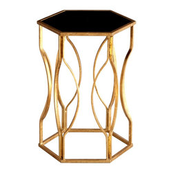 Cyan Design - Cyan Design Anson Traditional Side Table X-61550 - The hexagonal shape of this Cyan Design side table is complimented by the curvilinear hourglass lines of the base. From the Anson Collection, this transitional side table pairs its unique style with iron construction and a black glass top. Gilded Gold finishing completes the look.