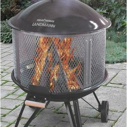 """Landmann - Deluxe Heatwave Fire Pit - Landmann's best selling line is this outdoor fireplace that is a must have! Its premium features include porcelain enamel finish, galvanized spark guard, heat shield and lid hanger. The Deluxe Heatwave is a great outdoor fireplace as it allows you to enjoy a 360 degree view of the fire, and for maximum convenience it includes two large wheels for portability! Features: -Largest personal use fire pit on the market.-Cooking and/or charcoal great for versatility.-Heat shield on bowl handle.-Large wheels for portability.-Please Note: Item should be placed on a brick, stone or concrete surface to prevent fire hazards.-Finish: Black.-Distressed: No.-Gloss Finish: No.-Material: Steel.-Top Material: Porcelain enamel.-Hardware Material: Steel, Wood.-Tabletop Fireplace: No.-Fuel Type: Wood or charcoal.-Gas Conversion Feature: No.-Plug In: No.-Fire Bowl Filler Accommodated: Can be used with charcoal for grilling.-Fire Bowl Filler Included: No.-Folding: No.-Heat Resistant Coating: Yes.-UV Protected: No.-Rust Resistant: No.-Fade Resistant: No.-Suitable For Use On Wooden Surface: No.-Log Grate Included: Yes.-Spark Screen Included: Yes -Spark Screen Material: Galvanized steel..-Snuffer Included: No.-Fire Poker Included: No.-Safety Ring: No.-Built in Cooking Area: Yes -Cooking Grate Included: Yes.-Adjustable Cooking Grate: No..-Handles: Yes.-Portable: Yes.-Lid Included: Yes.-Cover Included: No.-Swatch Available: No.-Commercial Use: No.-Recycled Content: No.-Eco-Friendly: No.Specifications: -Offers 360 degree view of fire.Dimensions: -Overall Height - Top to Bottom: 46"""".-Overall Width - Side to Side: 28"""".-Overall Depth - Front to Back: 32"""".-Fire Bowl Height: 7.75"""".-Fire Bowl Width: 26"""".-Fire Bowl Depth: 26"""".-Spark Screen: -Spark Screen Height - Top to Bottom: 14.75"""".-Spark Screen Width - Side to Side: 26"""".-Spark Screen Depth - Front to Back: 26""""..-Overall Product Weight: 34 lbs.Assembly: -Assembly Required: Yes.-Tools Needed: Phillips screwdrive"""