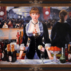 "overstockArt.com - Edouard Manet - A Bar at the Folies-Bergere - 30"" X 40"" Oil Painting On Canvas A Bar at the Folies-Bergere is an impressionist painting of a woman working at the bar by Edouard Manet. It will bring grace to every room and stand there as a reminder how sometimes you need to go out and take a break. Edouard Manet, a French painter, was one of the first nineteenth century artists to display modern-life subjects in his work. He was a key artist in the transition from Realism to Impressionism. Manet captured many aspects of life in his paintings such as cafe scenes, social activities, war, and even portraits. Enjoy all this artist has to offer whatever your interest may be."