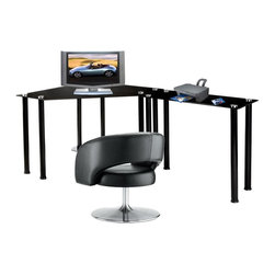 RTA Home and Office - L-Shaped Black Glass Computer Desk - CT-013LB - Shop for Desks from Hayneedle.com! Customize your workspace with the space-saving L-shaped RTA Home and Office Corner Black L/R Work Center. Tuck the corner desk away and utilize the extra space for storing your monitor or laptop. This simple desk has a bottom shelf that could hold a CPU or a printer if you're using a laptop. The extra table can be placed on either side depending on your preference extending your usable work area along one wall. Made of thick black tempered glass shelves supported by round aluminum tubes this modern desk will add sophisticated futuristic style to your office. This desk is easy to assemble and backed by a one-year limited warranty.Right side wall length: 73.75Left side Wall length: 38.25About RTA Home and OfficeIf you've decided to outfit your home or office with sleek modern style look no further than the RTA Home and Office product line. Based in Springfield Missouri RTA Home and Office Inc. was founded in 2001 and specializes in the manufacturing and distribution of high-quality tempered glass and polished aluminum TV stands desks and tables. All of the tempered glass shelves table tops and desk tops have smooth rounded edges for safety. Incredibly strong and durable these strikingly contemporary pieces will add high-tech style and design to a variety of home settings.