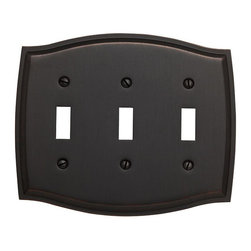 Baldwin Hardware - Colonial 3 Toggle Wall Plate in Venetian Bronze (4780.112.CD) - Feel the difference � Baldwin hardware is solid throughout, with a 60 year legacy of superior style and quality. Baldwin is the choice for an elegant and secure presence. Baldwin guarantees the beauty of our finishes and the performance of our craftsmanship for as long as you own your home.