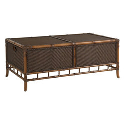 Lexington - Tommy Bahama Island Estate Veranda Trunk Cocktail Table - The woven materials within the rattan frame add texture and interest as the anchor to the seating area, yet the two drawers, one on either end, are ideal for storing table top or pillows, keeping them easily accessible, yet protected on a windy day.