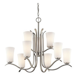 Kichler Lighting - Kichler Lighting Armida Transitional Chandelier X-IN57034 - This classic transitional style nickel chandelier features a curved steel frame and nine satin etched white glass cylinders that shade the light and prevent glare. Shiny brushed nickel finish gives a traditional look to this contemporary chandelier. The Kichler Lighting Armida Transitional chandelier is simply beautiful d&#233:cor accent for a casually sophisticated room.