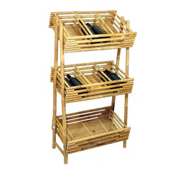 """Bamboo54 - Bamboo Wine Tray Rack or Knick Knack Rack - A very unique rack for many uses. Spirits, knick knacks, etc. are some of the things you can display on this handsome rack. Measures 48"""" H x 23.5"""" W x 15"""" D, some assembly required."""