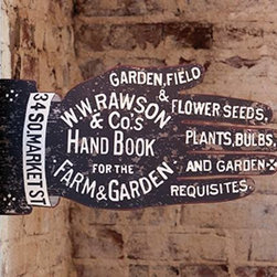 Double Sided Garden Shop Supply Sign - This Rawson's Gardening Handbook Sign was inspired by a magazine ad from 1888. This exquisite Farm & Garden supply shop sign will add tons of character to your space. Sign reads: Garden, Field & Flower Seeds, Plants, Bulbs and Garden Requisites. W.W.Rawson & Co.s Hand Book