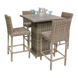 TKC - Royal Pub Table Set With Barstools 5 Piece Outdoor Wicker Patio Furniture - Features: