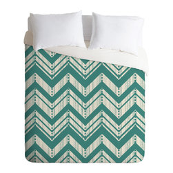 Heather Dutton Weathered Chevron Queen Duvet Cover - Transform your bedroom with the sharp, unconventional chevron pattern. Got a set of printed sheets? Flip this machine-washable duvet over to solid white to switch things up.