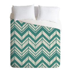 DENY Designs - Heather Dutton Weathered Chevron Duvet Cover, Queen - Transform your bedroom with the sharp, unconventional chevron pattern. Got a set of printed sheets? Flip this machine-washable duvet over to solid white to switch things up.